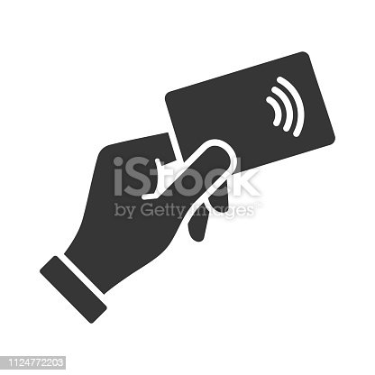 Hand with NFC Payment Credit Card Icon. Vector illustration