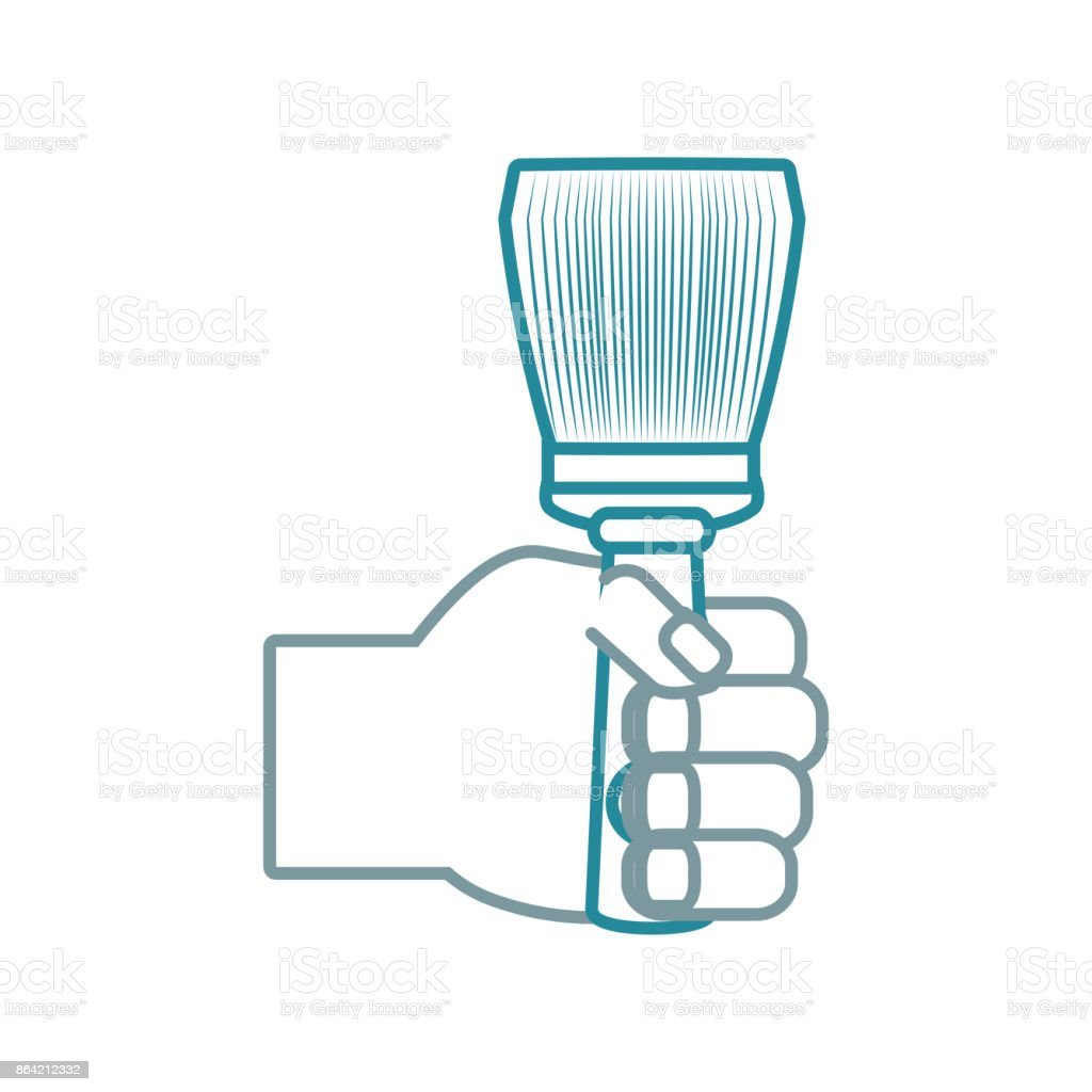 hand  with paint brush vector  illustrati royalty-free hand with paint brush vector illustrati stock vector art & more images of arm