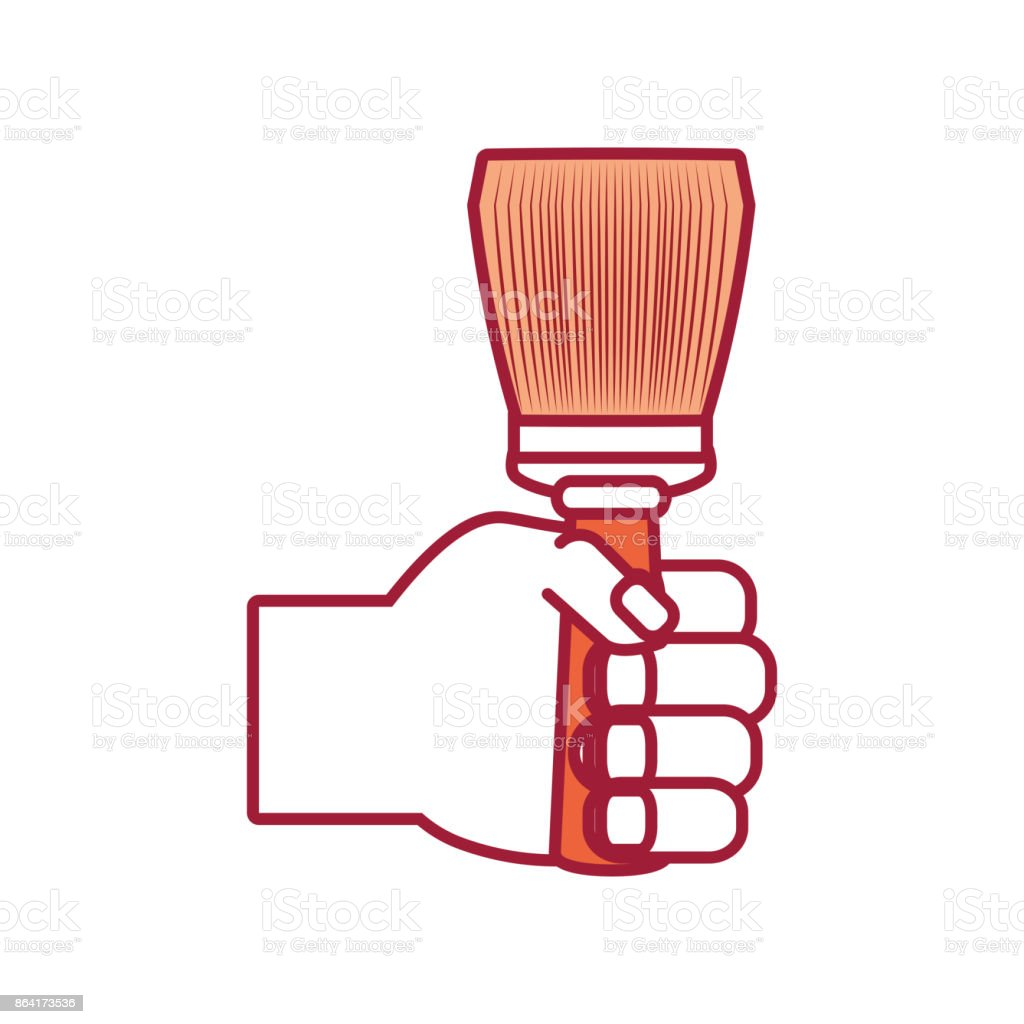 hand with paint brush vector  illustratio royalty-free hand with paint brush vector illustratio stock vector art & more images of arm
