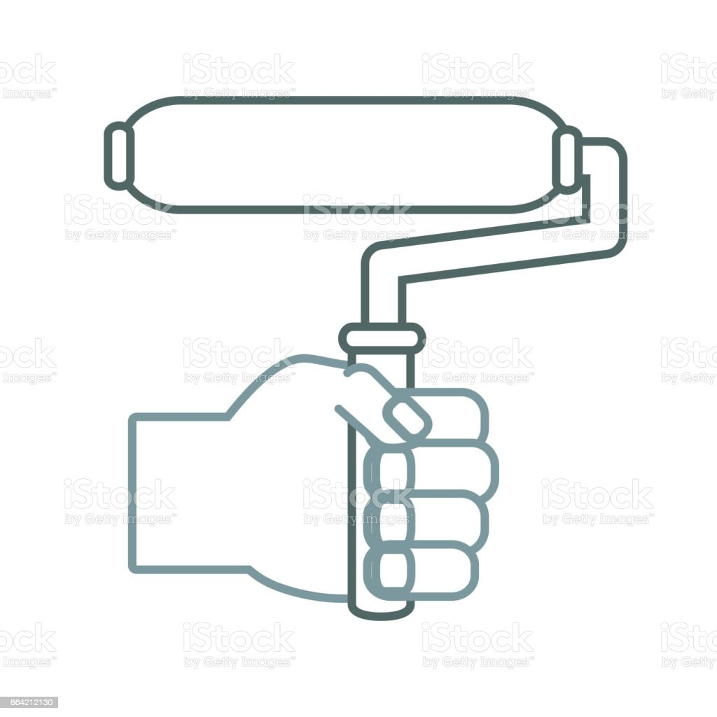hand  with  paint roller vector  illustrat royalty-free hand with paint roller vector illustrat stock vector art & more images of arm