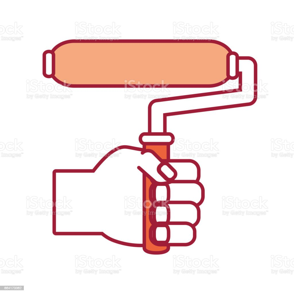 hand with  paint roller vector  illustrati royalty-free hand with paint roller vector illustrati stock vector art & more images of arm