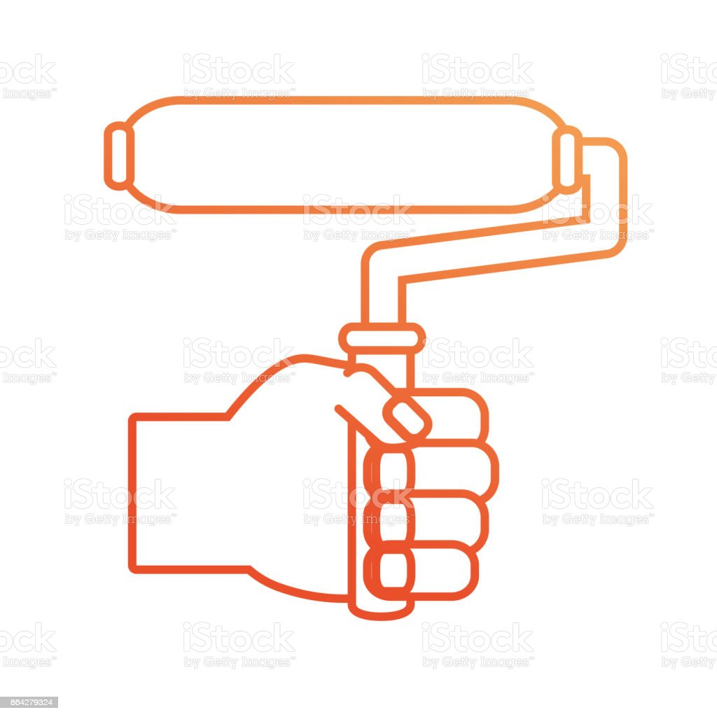 hand  with paint roller vector illustratio royalty-free hand with paint roller vector illustratio stock vector art & more images of adult