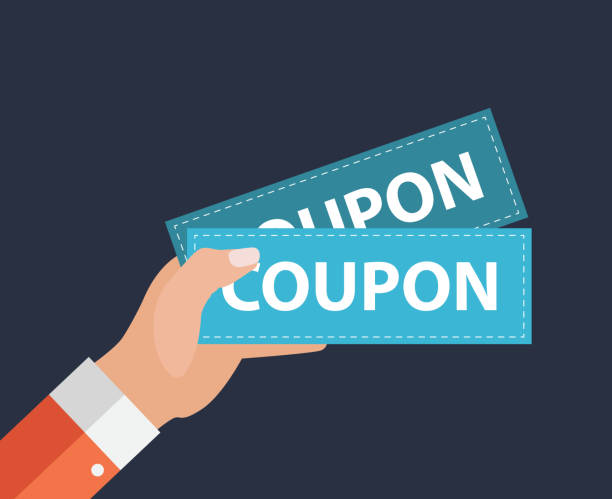 Hand with Paper Coupons Flat Design. Present, Gift, Ð¡oupon Concept. Vector Illustration Hand with Paper Coupons Flat Design. Present, Gift, Ð¡oupon Concept. Vector Illustration EPS10 coupon stock illustrations