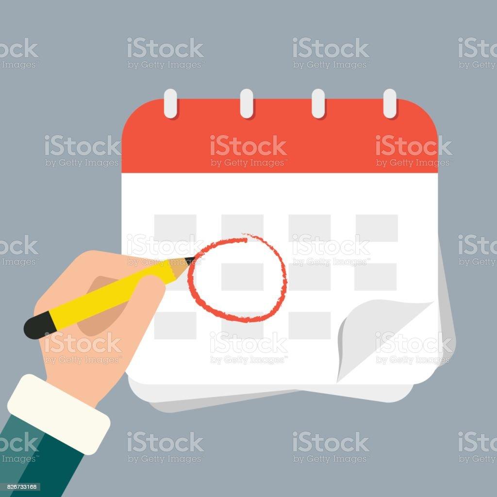 Marca Calendario.Ilustracion De Mano Con El Calendario De La Marca De Lapiz