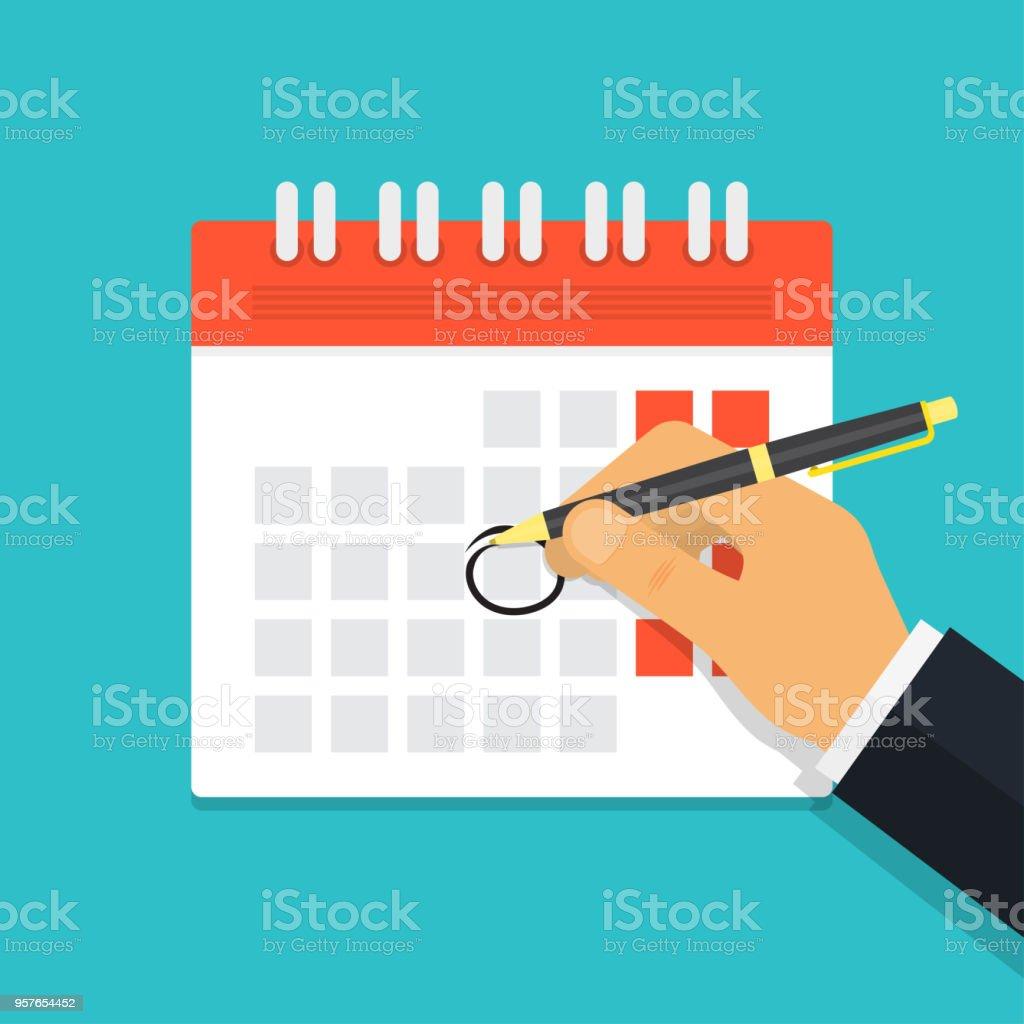 Hand met pen mark kalender - Royalty-free Achtergrond - Thema vectorkunst