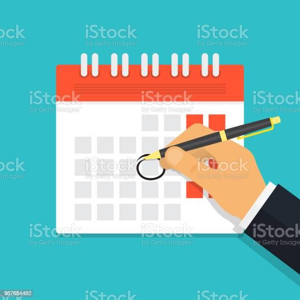 Hand Met Pen Mark Kalender Stockvectorkunst en meer beelden van Achtergrond - Thema
