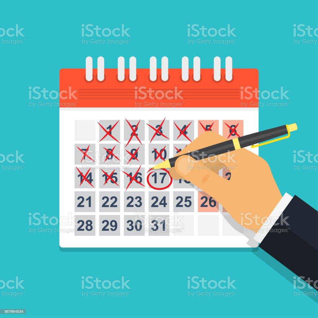 Marca Calendario.Ilustracion De Mano Con El Calendario De La Marca De La Pluma Y Mas