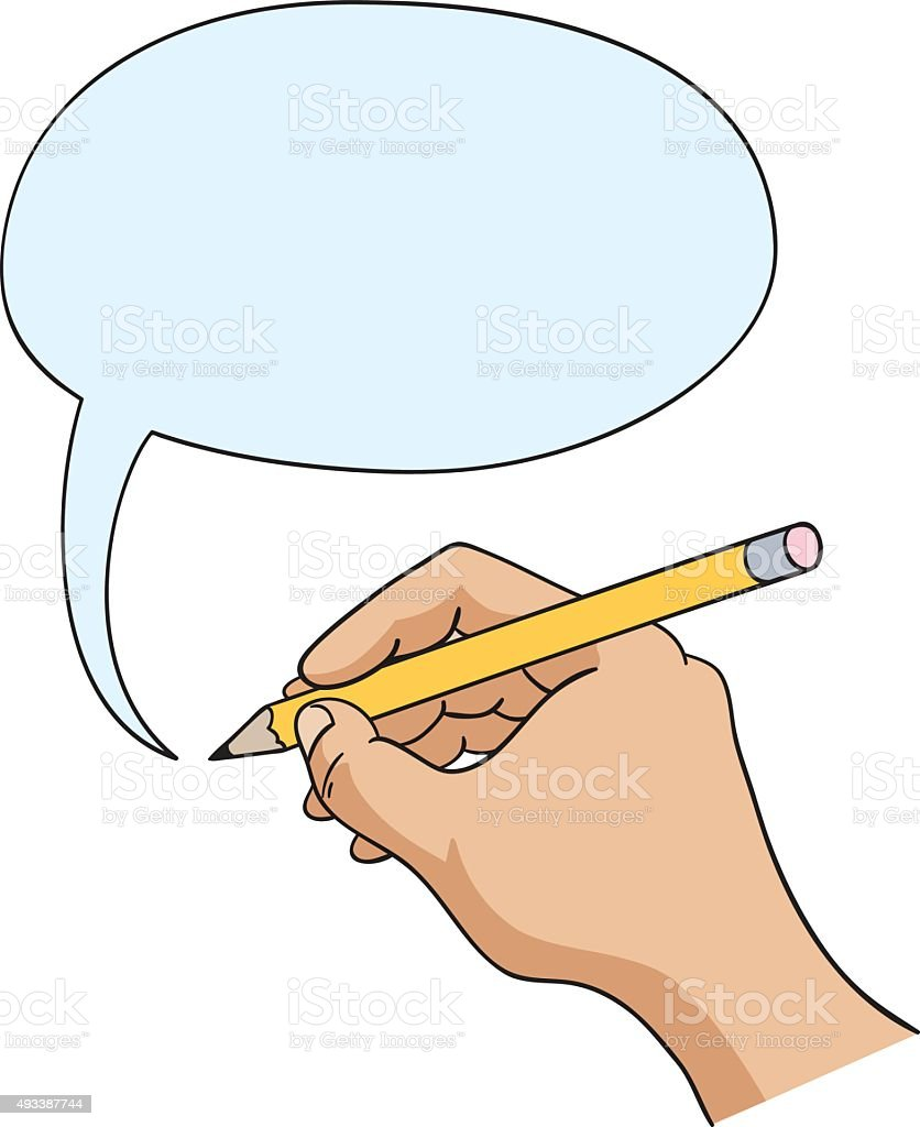 Hand with pencil drawing speech bubble hand and comic speech balloon illustration