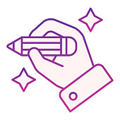 Hand with pencil flat icon. Hand drawing violet icons in trendy flat style. Arm holding pencil gradient style design, designed for web and app. Eps 10