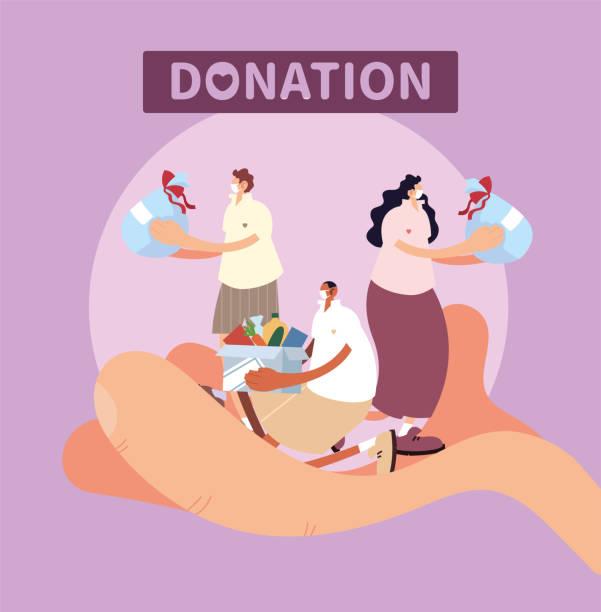 illustrazioni stock, clip art, cartoni animati e icone di tendenza di hand with people symbol of charity donation - mano donna dita unite
