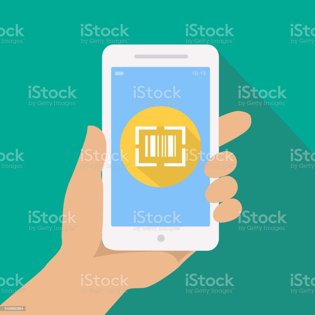 Hand with phone, scan QR code reader smartphone app concept vector art illustration