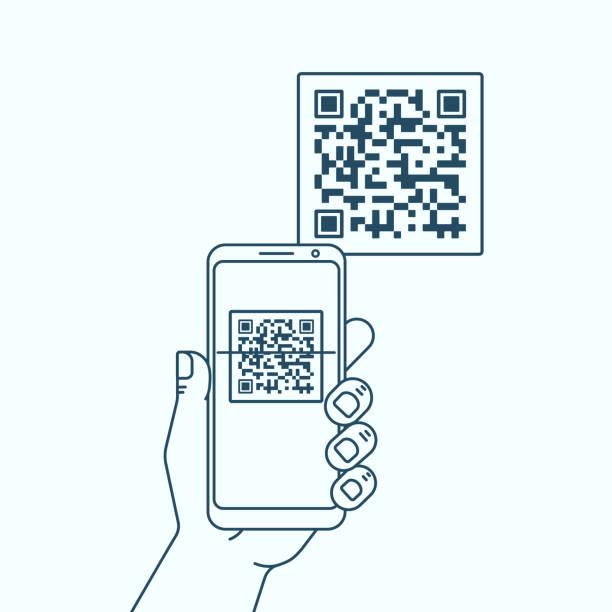 illustrations, cliparts, dessins animés et icônes de main avec le code qr de balayage de téléphone - main téléphone