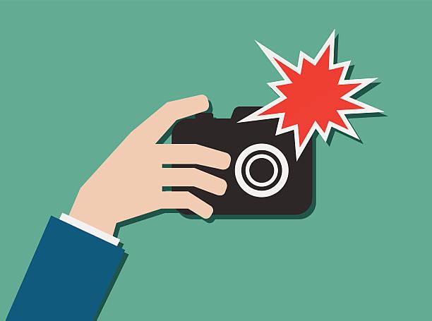 손으로 포토서제스트 카메라, 플래시 아이콘을 - 카메라 플래시 stock illustrations