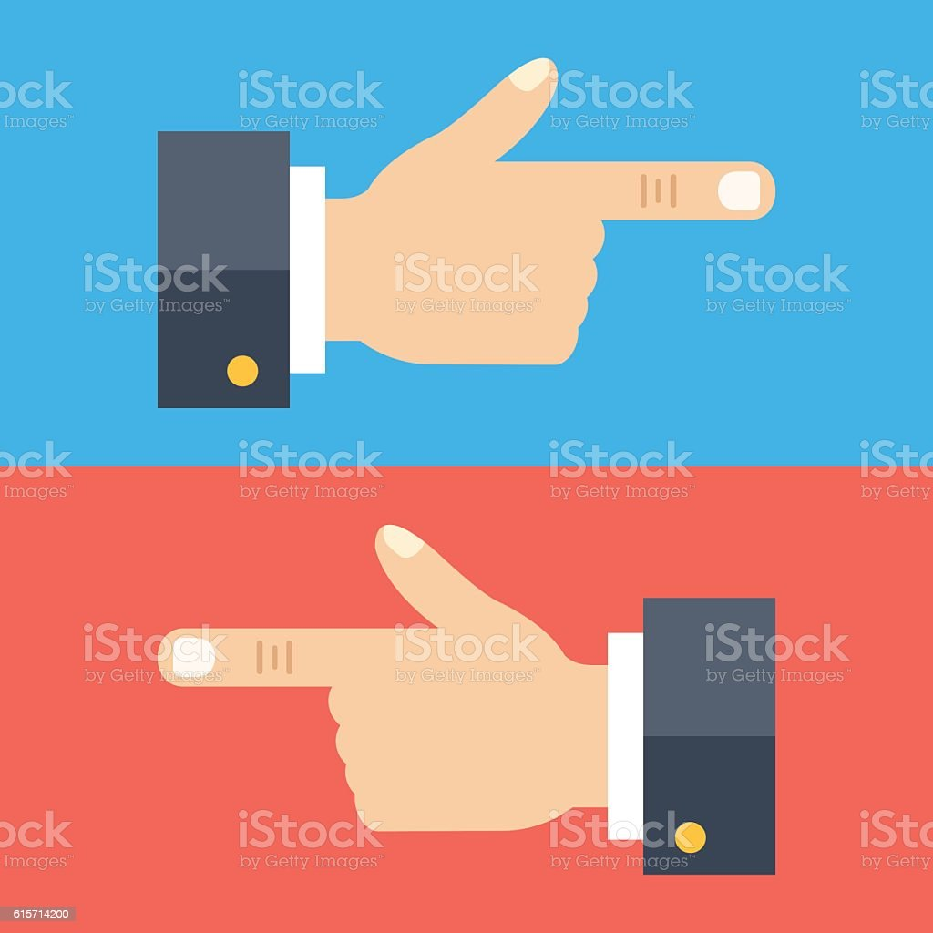 Hand with pointing finger set. Two hands showing left, right vector art illustration