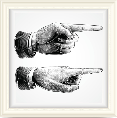 pointing finger, engraving style.