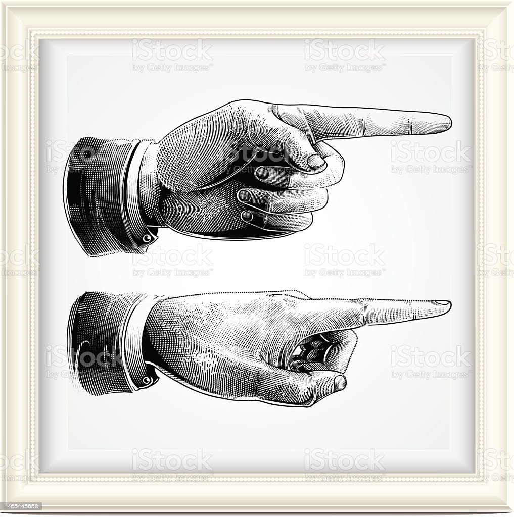 Hand with pointing finger vector art illustration
