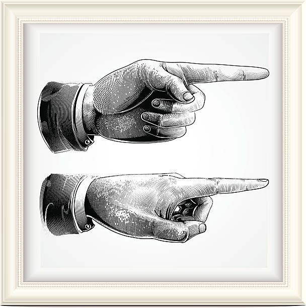 Hand with pointing finger pointing finger, engraving style.  pointing stock illustrations
