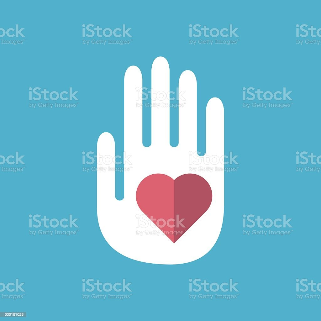 Hand with red heart vector art illustration