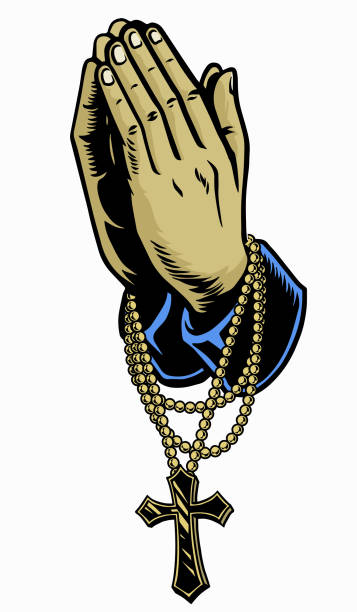 hand mit rosenkranz beten kreuz - kreuzkette stock-grafiken, -clipart, -cartoons und -symbole