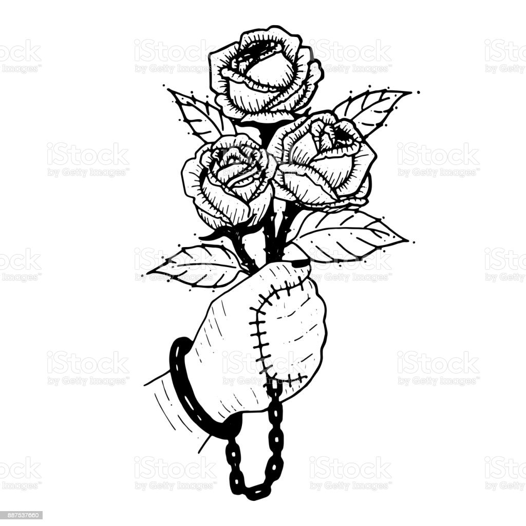 Hand With Rose Bouquet Of Roses Hand Are Sealed With Rose Symbol Of