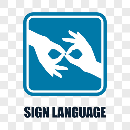 hand with sign language gesture on transparent background