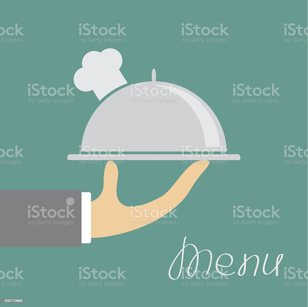 Hand with silver platter cloche and chefs hat. Menu Flat vector art illustration