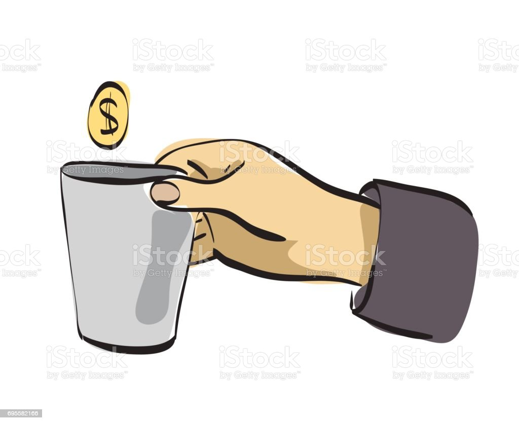 Hand with small can begging for money. vector art illustration