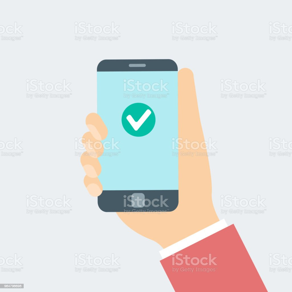 Hand with smart phone wiht check mark royalty-free hand with smart phone wiht check mark stock vector art & more images of accuracy