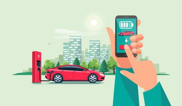 hand mit smartphone und lade-app mit elektro-auto-aufladung batterien - elegante kleidung stock-grafiken, -clipart, -cartoons und -symbole