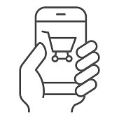Hand with smartphone thin line icon, shopping concept, mobile payment through phone sign on white background, Supermarket online shopping mobile phone with credit card icon in outline style