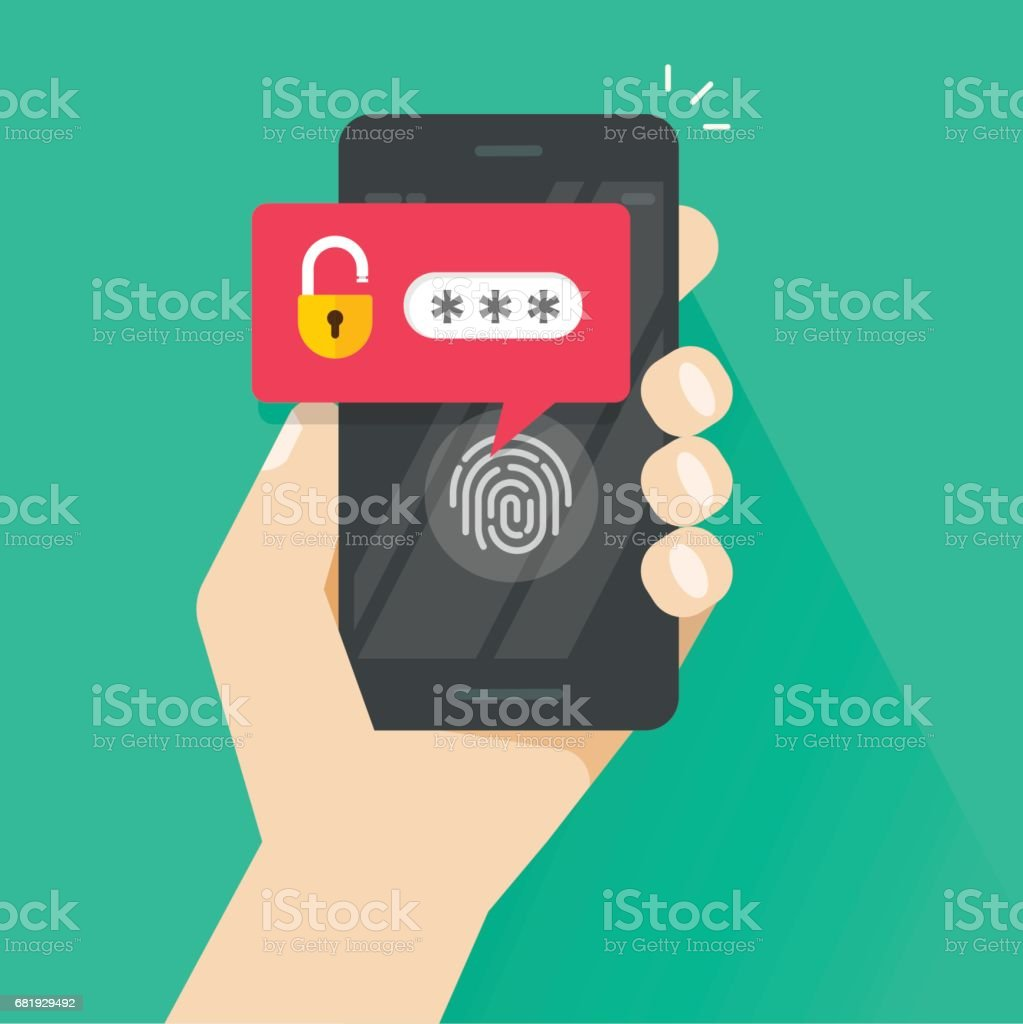 Hand with smartphone unlocked with fingerprint button and password notification vector, mobile phone security, cellphone user authorization, login, protection vector art illustration