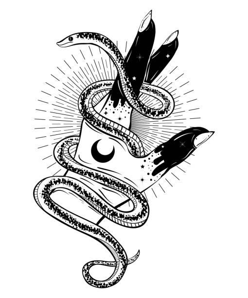 ilustraciones, imágenes clip art, dibujos animados e iconos de stock de mano con la ilustración bohemio de serpiente. estilo del arte del tatuaje. decoración en estilo de tattoo flash - tatuajes de serpientes