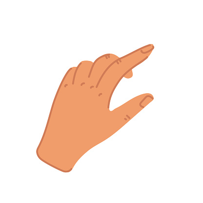 Hand with swiping index finger in flat style. Swipe up or press button icon. Flat cartoon style vector illustration