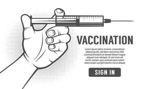 Bекторная иллюстрация Hand with syringe - retro poster