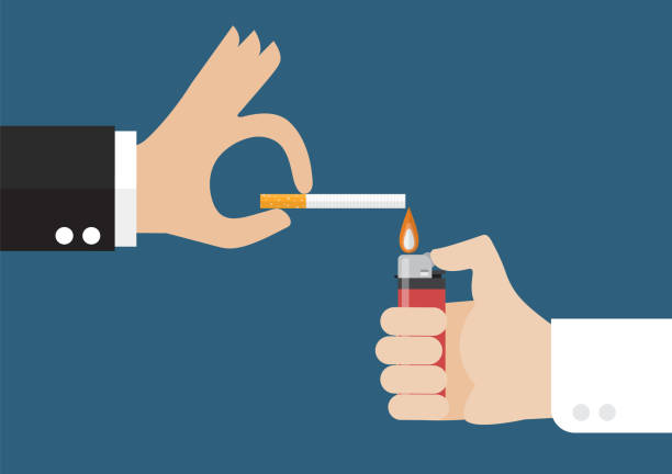 hand mit dem feuerzeug und der raucher mit einer zigarette - feuerzeuggas stock-grafiken, -clipart, -cartoons und -symbole