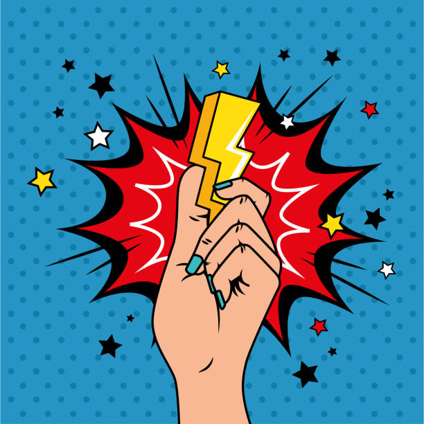 hand with thunderbolt and explosion pop art style icon vector art illustration