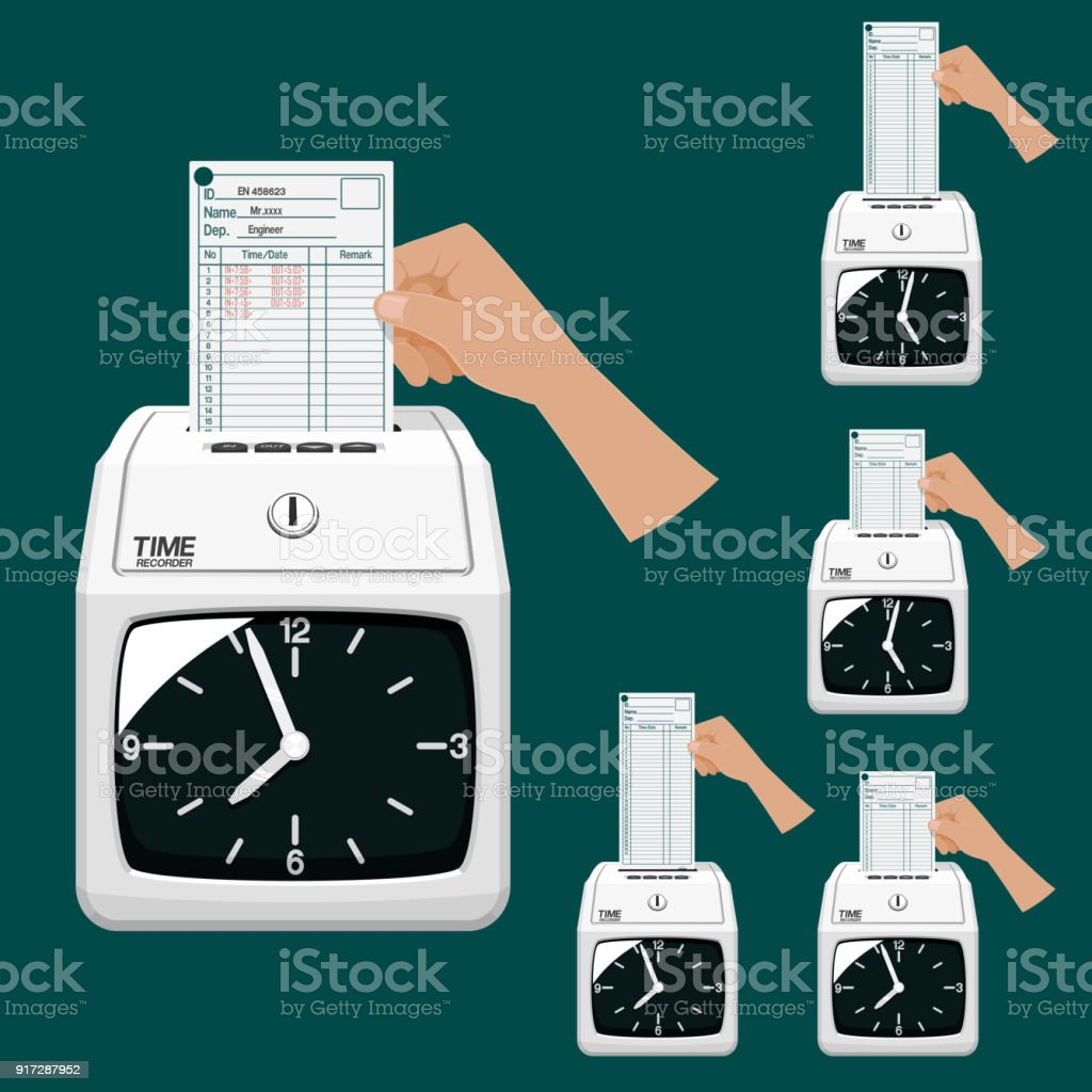 Hand with Time recorder dial type vector art illustration