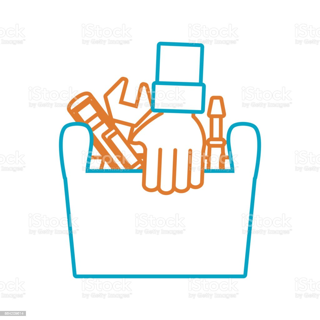 hand with tool box vector  illustratio royalty-free hand with tool box vector illustratio stock vector art & more images of arm
