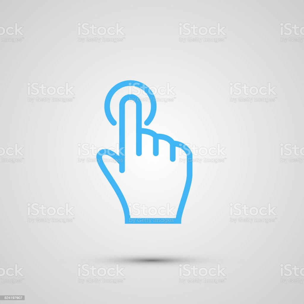 Hand with touching a button or pointing finger sign emblem vector art illustration