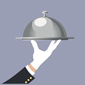 Hand of waiter with serving tray. Vector illustration