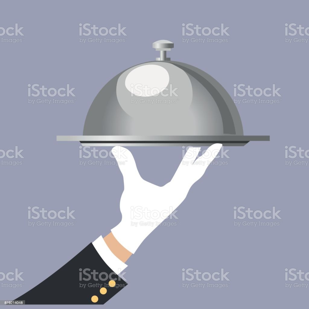 Hand with tray vector art illustration