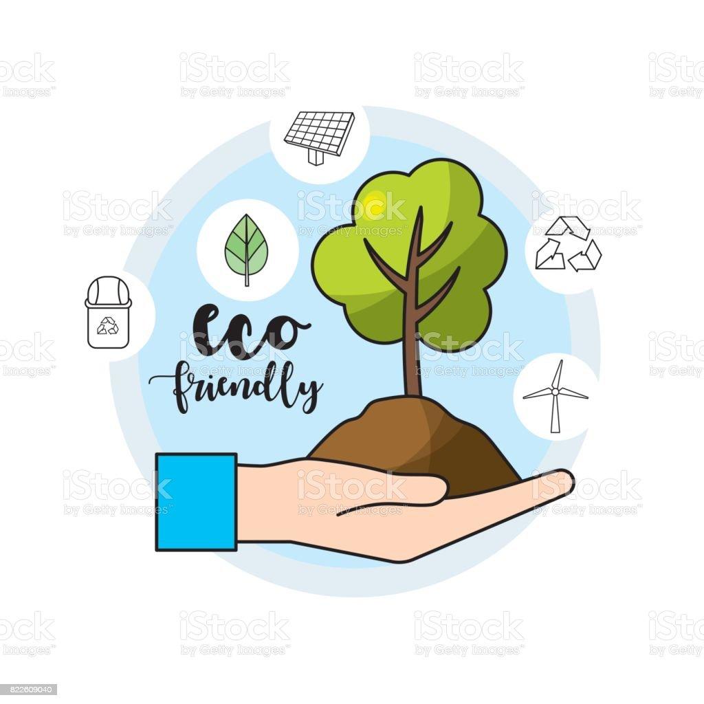 Mano con rbol y suelo para el cuidado del medio ambiente for 5 cuidados del suelo