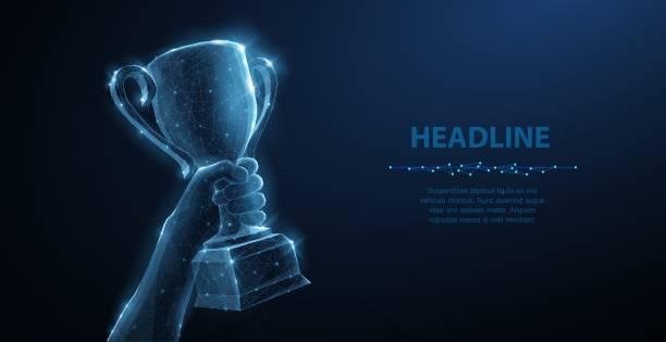 stockillustraties, clipart, cartoons en iconen met hand met trophy cup. - kampioenschap