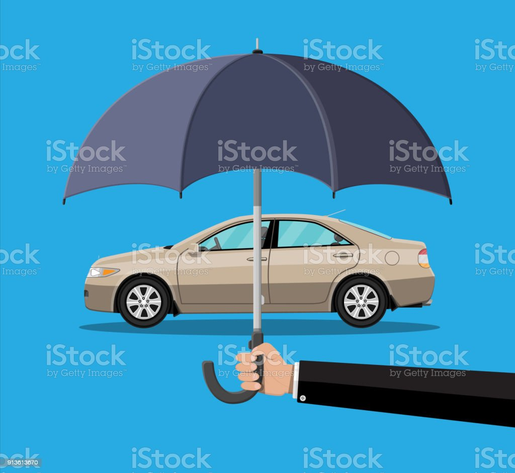 Hand With Umbrella That Protects Car Stock Illustration Download