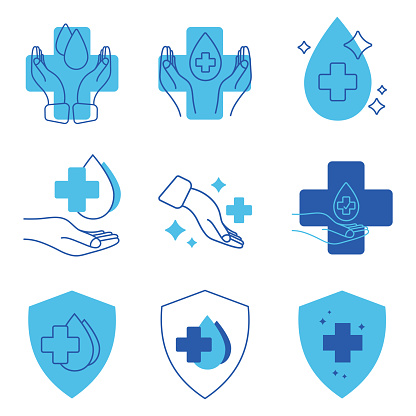Hand with water drop and medical cross. Medically approved labels. Clinically tested insignia stamp. Antibacterial icons. Skin care sign. Disinfection and protection labels. Vector