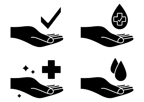 Hand with water drop and medical cross. Wash hands symbol. Antibacterial icons. Skin care sign. Icon set of disease prevention. Sanitizer, antiseptic, antibacterial symbols. Approved label