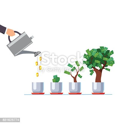 istock Hand with watering can pouring golden coins money 831625774