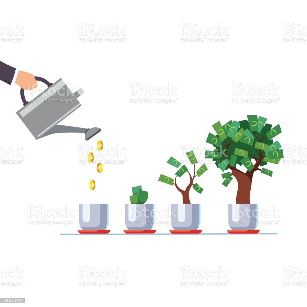 Hand with watering can pouring golden coins money vector art illustration