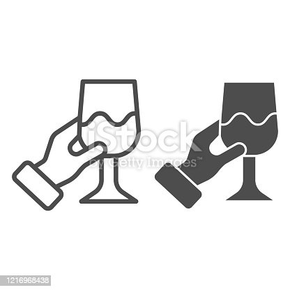 Hand with wine glass line and solid icon. Holding wineglass and tasting outline style pictogram on white background. Gourmet or wine connoisseur arm for mobile concept and web design. Vector graphics