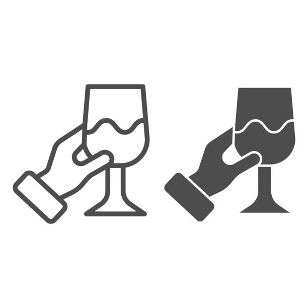 Hand with wine glass line and solid icon. Holding wineglass and tasting outline style pictogram on white background. Gourmet or wine connoisseur arm for mobile concept and web design. Vector graphics. Hand with wine glass line and solid icon. Holding wineglass and tasting outline style pictogram on white background. Gourmet or wine connoisseur arm for mobile concept and web design. Vector graphics alcohol drink clipart stock illustrations